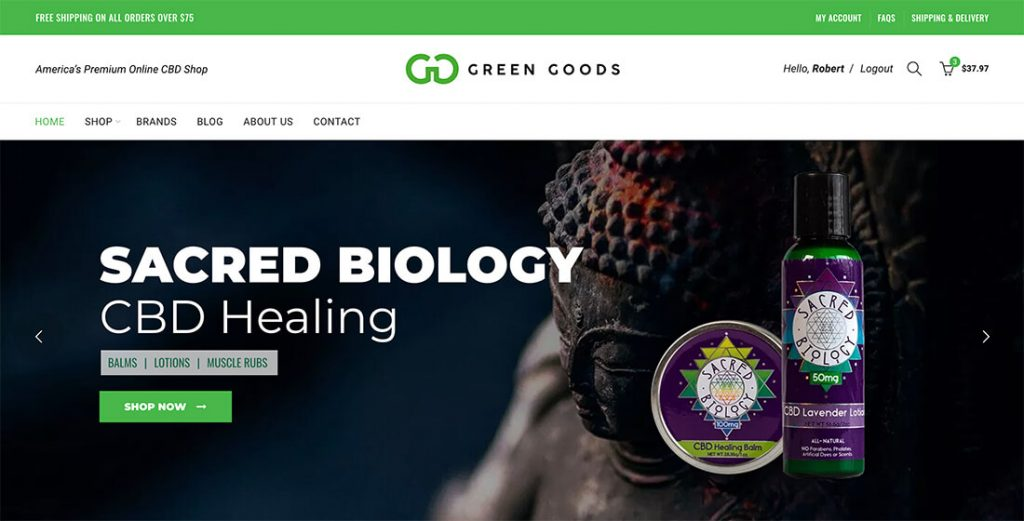 green goods cbd website design