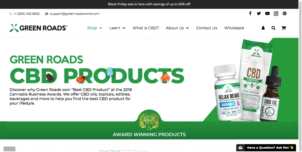 green roads cbd website design