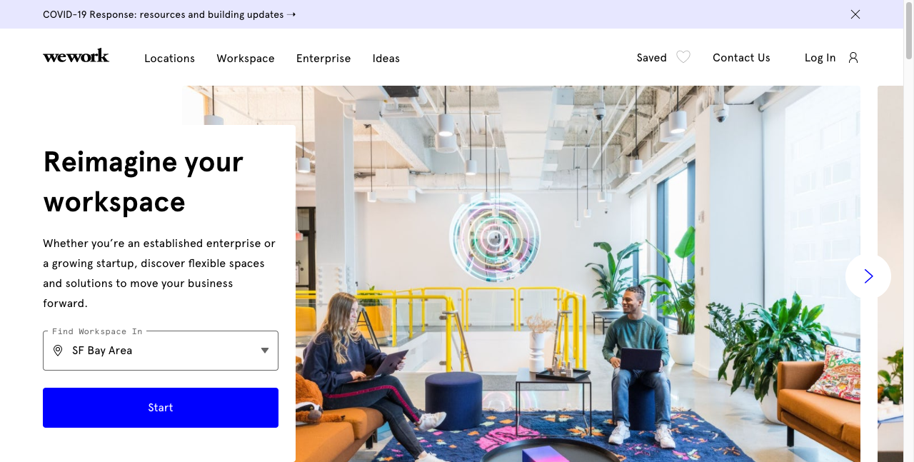 wework b2b website design