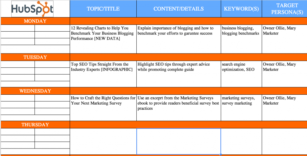 sample content marketing calendar
